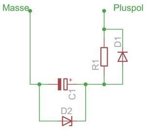 Pufferschaltung für 16 V-SMD-Kondensatoren